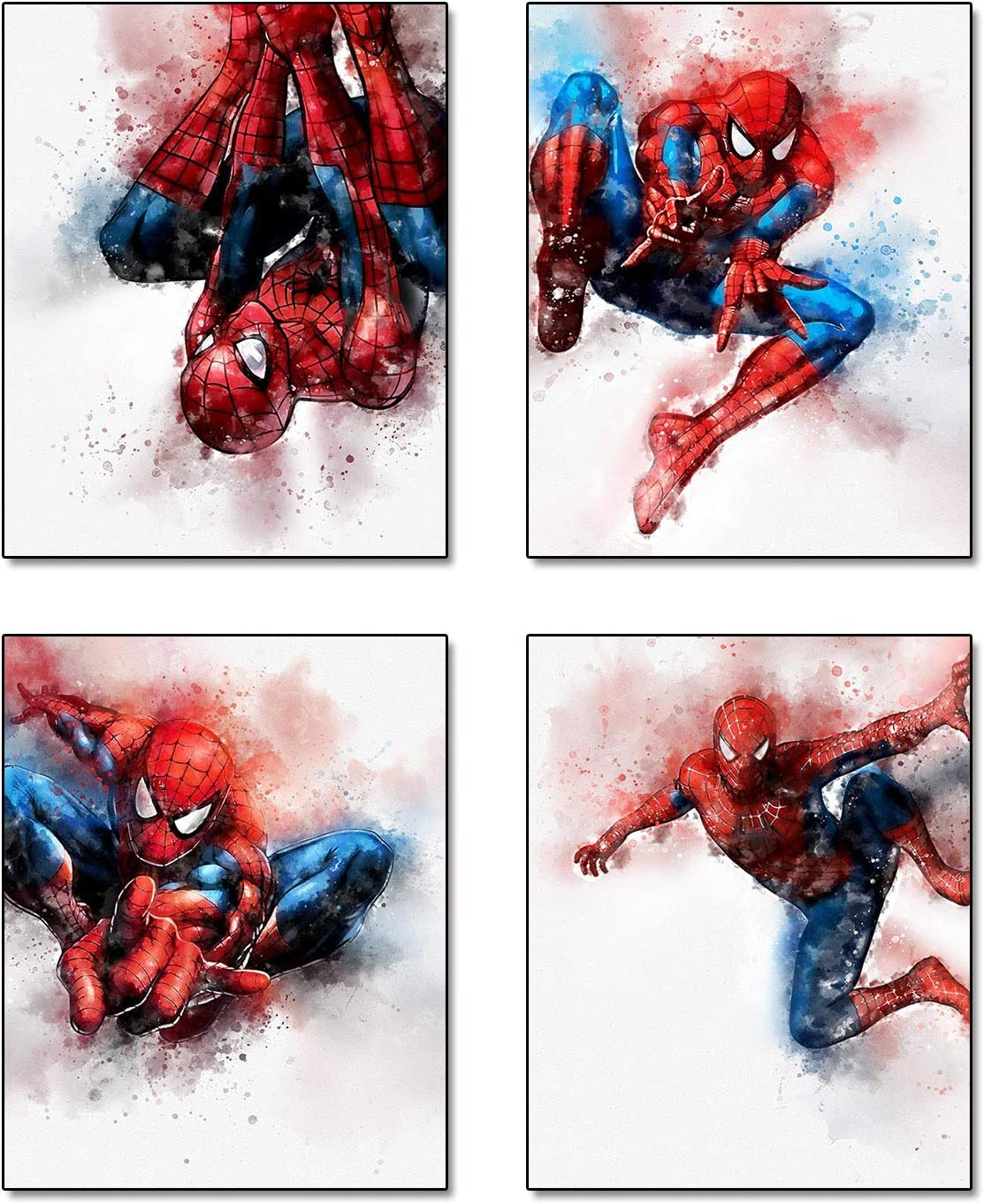 "Cartoons Superhero Spiderman Theme Art Painting Set of 4 (8""X10"" Canvas Picture) Children Kids Boys Birthday Gift Game Room Decor Art Prints Nursery Wall Poster Home Decor Unframed"