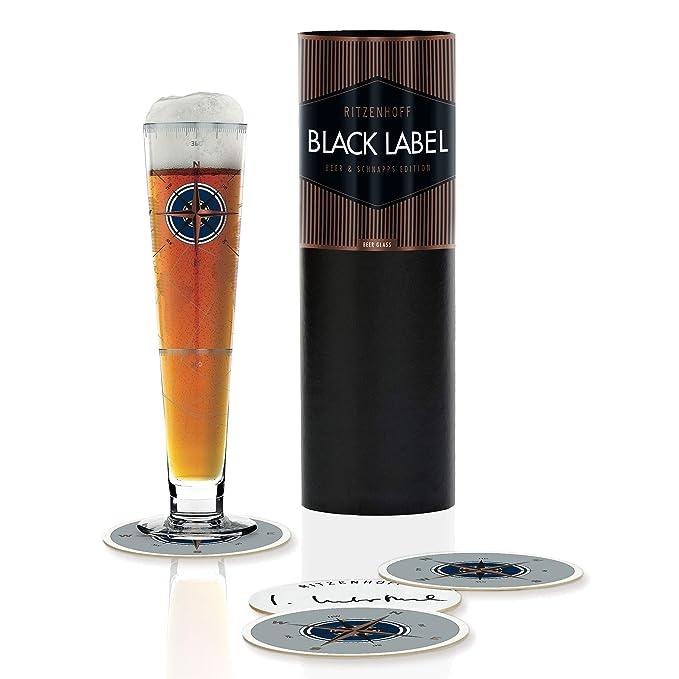 aus Kristallglas RITZENHOFF Black Label Bierglas von Burkhard Neie mit f/ünf Bierdeckeln 300 ml