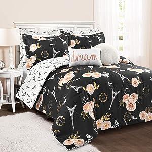 Lush Decor Black Vintage Paris Rose Butterfly 5-Piece Comforter Set Reversible Bedding (Twin XL)