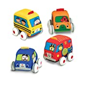 Melissa & Doug Pull-Back Vehicles, Soft Baby and Toddler Toy Set (4 Cars and Trucks and Carrying Case, Great Gift for Girls and Boys - Best for Babies and Toddlers, 9 Month Olds, 1 and 2 Year Olds)