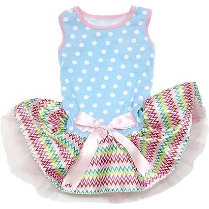 2b8844293 Puppy Clothes Dog Dress Easter Plain Polka Dots Blue Top Chevron Tutu  (Large)