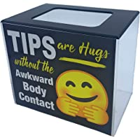 BB INC Tip Box Tips Jar Acrylic Money Storage Container Tips are Hugs
