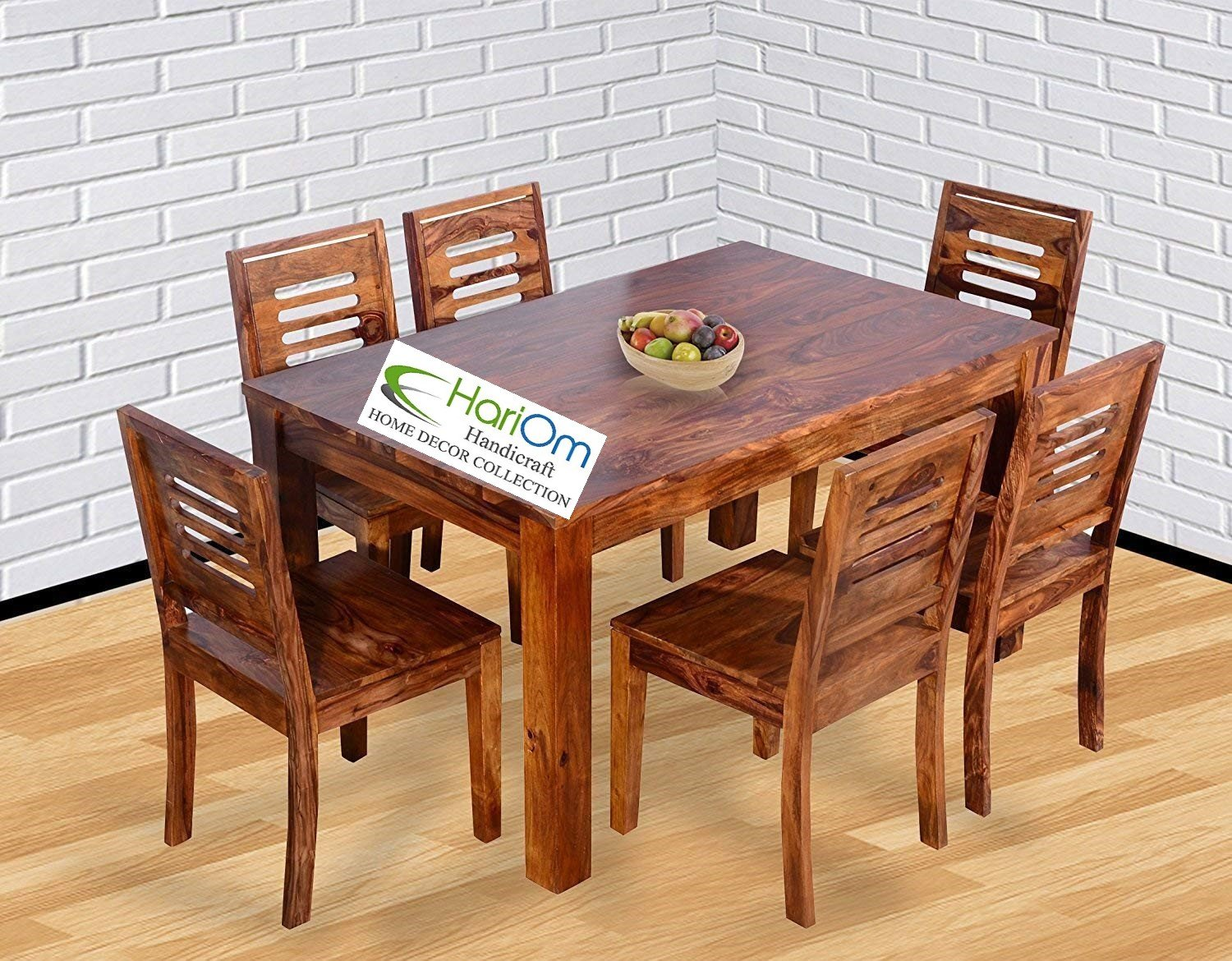 Hariom Handicraft Sheesham Wood Wooden Dining Set 6 Seater Table With Chairs Natural Teak Finish Amazonin Home Kitchen