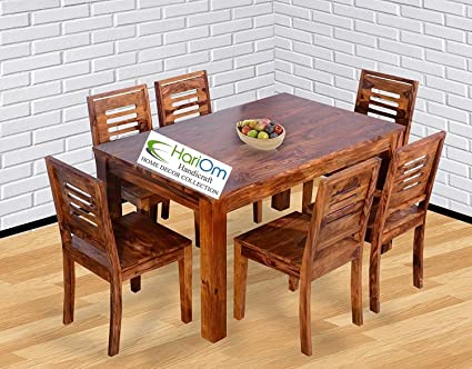 Hariom Handicraft Sheesham Wood Wooden Dining Set 6 Seater, Dining Table  With Chairs, Natural