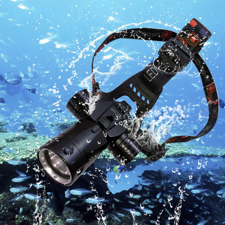 Goldengulf Rechargeable Cree L2 Aluminum Waterproof Diving Swimming Hiking Camping Hunting Fishing Headlamp Underwater 1800 Lumen Safety Head Light Flashlight by Goldengulf