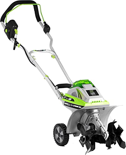 Earthwise TC70040 11-Inch 40-Volt Lithium-Ion Cordless Electric Tiller Cultivator, 4Ah Battery Charger Included