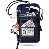Passport Holder FREETOO RFID Neck Stash Travel Wallet Pouch for Security Black