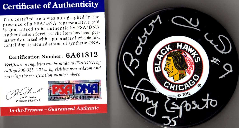 PSA/DNA Bobby Hull & Tony Esposito Autographed Signed Chicago Blackhawks Original Six Logo Puck