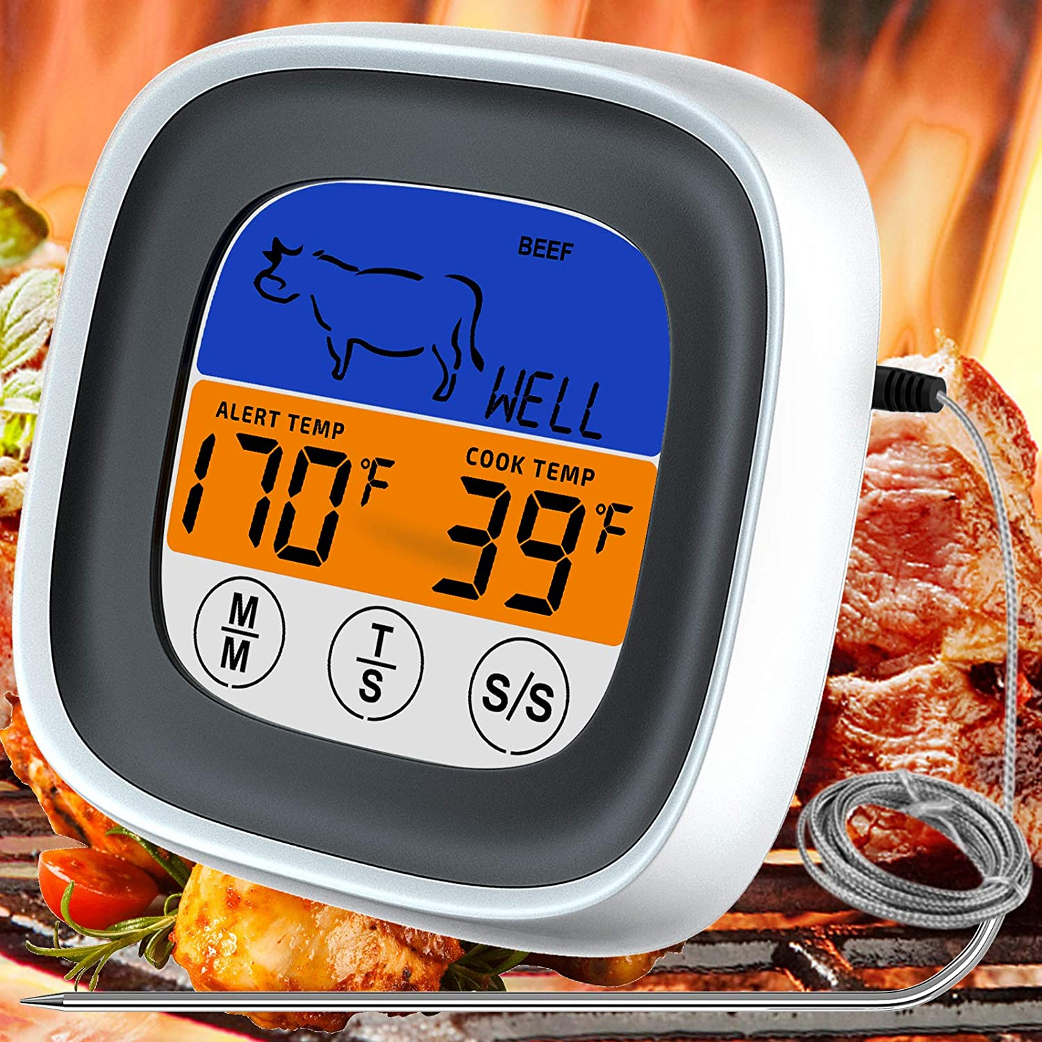 Skiroromg Meat Thermometer, Digital Instant Read Food Thermometer Wired Grilling Thermometer with Timer Stainless Steel Probe Touch Screen for BBQ Smoker Oven Grill Deep Fry Kitchen Food Cooking