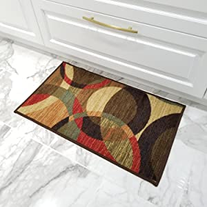 Doormat 18x30 Colored Circles Kitchen Rugs mats | Rubber Backed Non Skid Rug Living Room Bathroom Nursery Home Decor Under Door Entryway Floor Carpet Non Slip Washable | Made in Europe