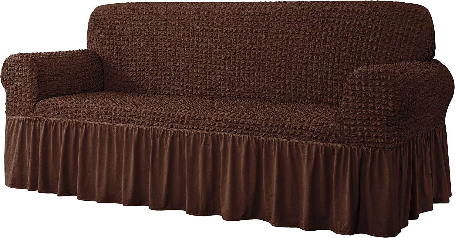 CHUN YI Universal Sofa Slipcover with Skirt 1-Piece Fitted Couch Cover All-Purpose Furniture Protector, Washable High Elastic Durable Seersucker Fabric (X-Large,Chocolate)