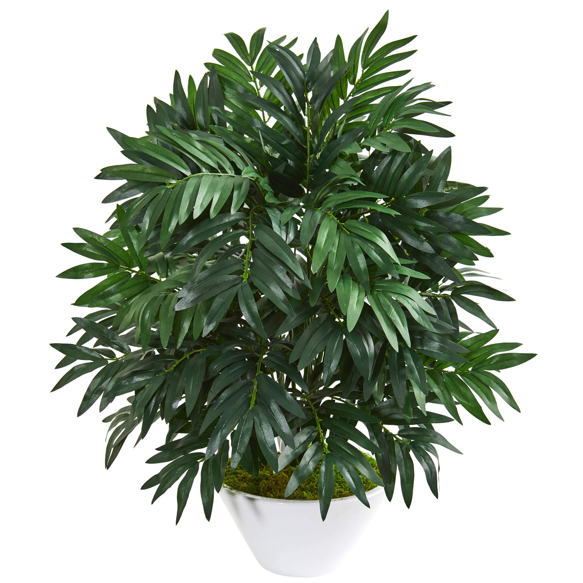 Nearly Natural 8406 30-in. Bamboo Palm Artificial White Planter Silk Plants Green
