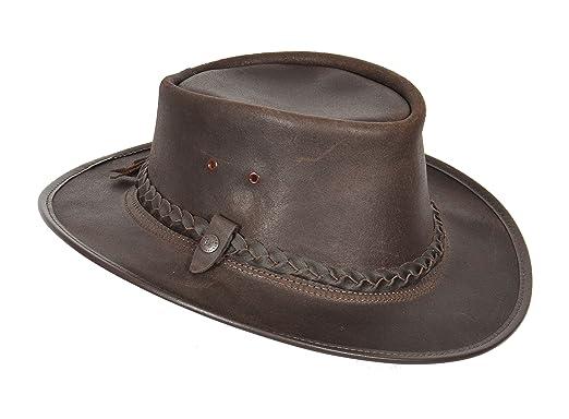 parcourir les dernières collections moins cher nouvelle qualité House Of Leather Original Australien Bac Pac Traveller Cow-Boy BC Chapeau  Cuir Véritable Braun
