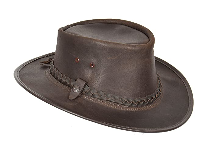d4aaad8193d Original Australian Bac Pac Traveller Cowboy BC Hat Real Leather Brown  (Small)