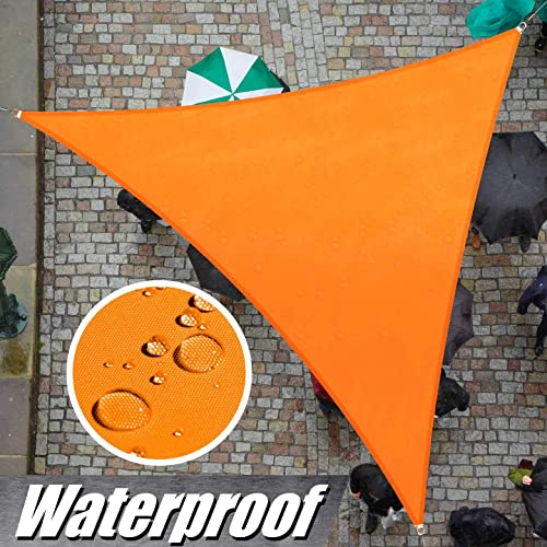 ColourTree Custom Size 13 x 18 x 22.2 Orange TADT12 Triangle Waterproof Sun Shade Sail Canopy Awning Shelter, 95 UV Blockage Water Resistant, Outdoor Patio Garden Carport We Make Custom Size