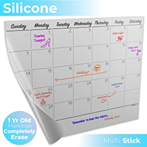 New Dry Erase Calendar - OUTDO Magnetic Refrigerator Whiteboards - Month Organizer for Kitchen Fridge + More - Top Silicone-Tech - Best Erasable 1 Year+ Reusable Desk Planner - Bring Life/Kids Order