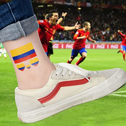 Moonvvin 2018 World Cup FIFA National Bands Tatuaje, 10 piezas temporales ecológicas impermeables banderas nacionales