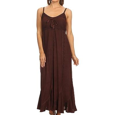 Sakkas Allie Stonewashed Embroidered Adjustable Spaghetti Straps Long Dress at Women's Clothing store