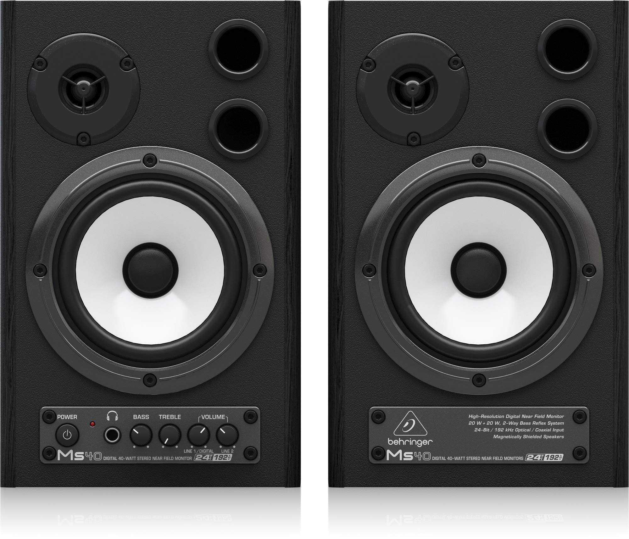 Behringer MS40 24-Bit/192 kHz Digital 40-Watt Stereo Near Field Studio Monitor Speakers
