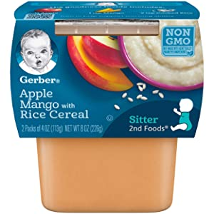 Gerber 2nd Foods, Apples & Mangos with Rice Cereal Pureed Baby Food, 4 Ounce Tubs, 2 Count (Pack of 8)