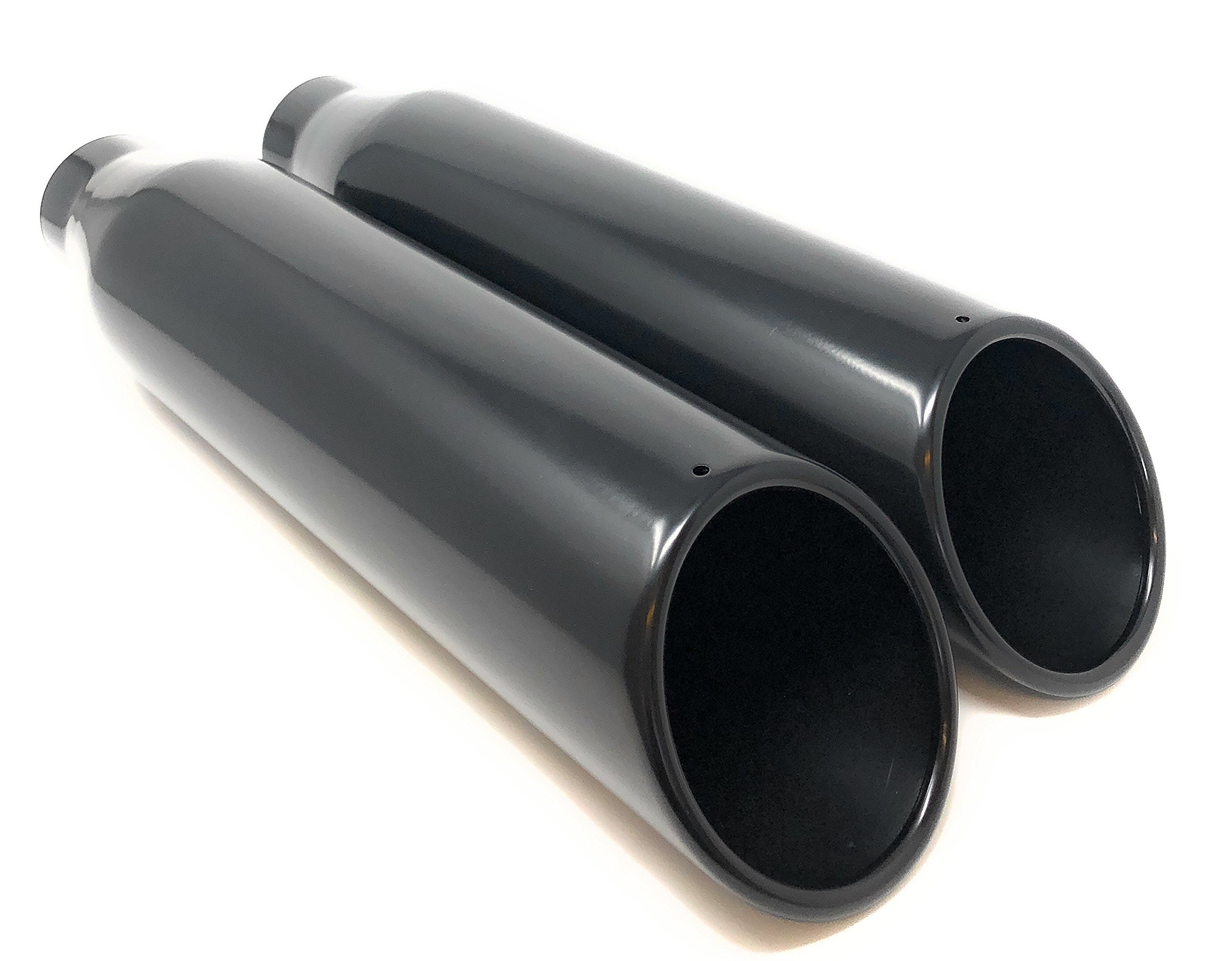 Black Powder Coat Rolled Angle Cut Exhaust Tips 2 1/2'' Inlet 4'' Outlet 18'' Length, Black (18'' length, 2 pair)
