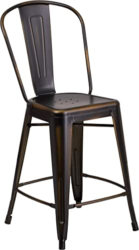 Flash Furniture Commercial Grade 24″ High Distressed Copper Metal Indoor-Outdoor Counter Height Stool