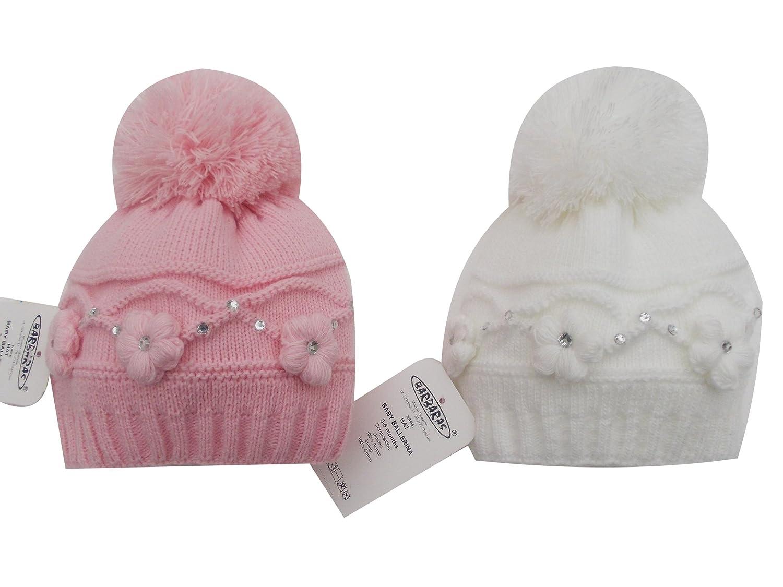 BNWT girls warm winter flower & diamante bobble hat in (0-3 months, Pink) Barbarac