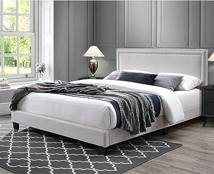 BLACK Fabric WingBack QUEEN Size Platform Bed Frame Slats Modern Home Bedroom