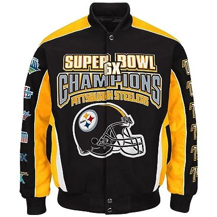 NFL Men s Pittsburgh Steelers 6 Time Super Bowl Champion Cotton   Twill  Jacket ... f6af9121b