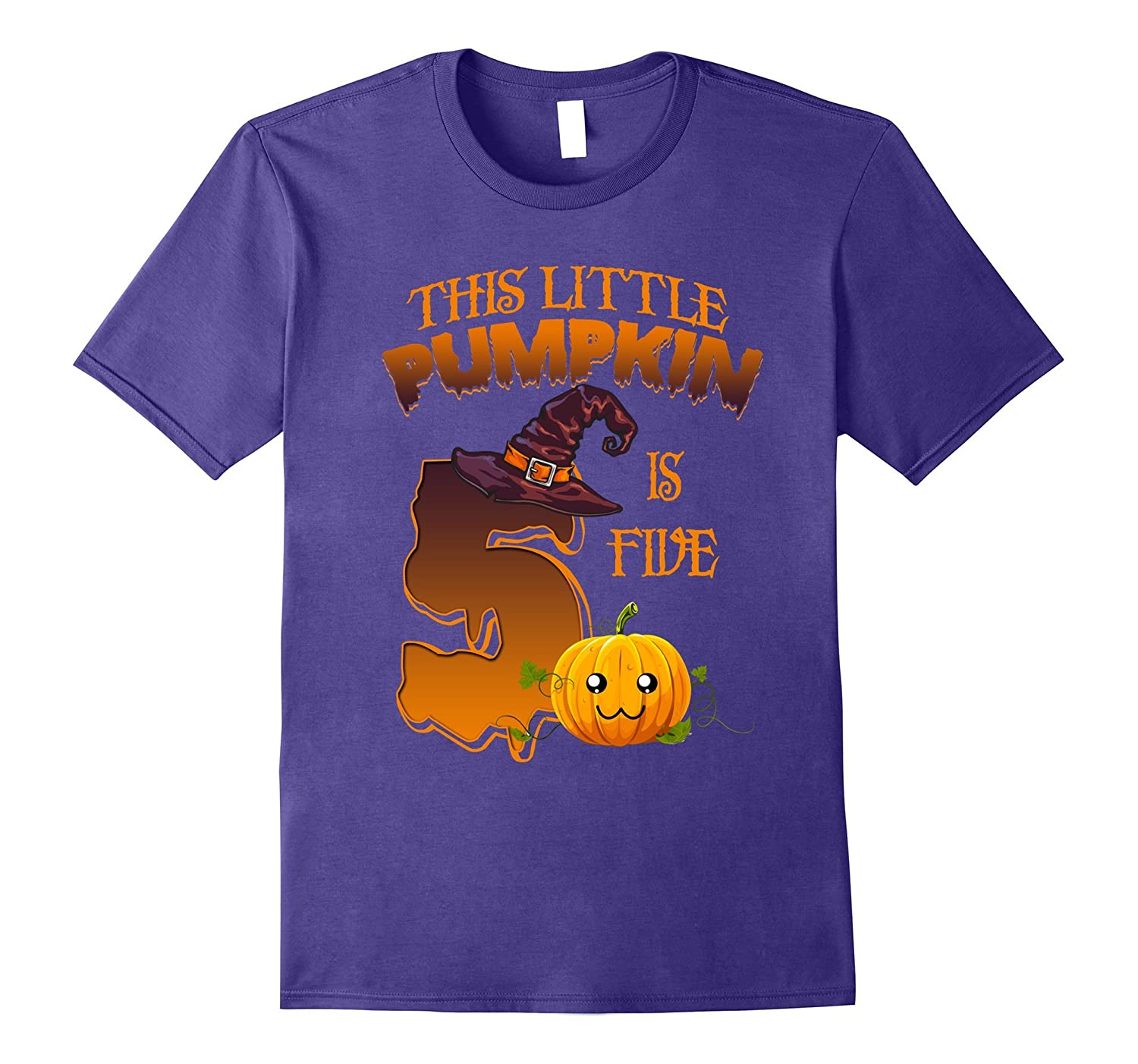 5 years old 5th Birthday Tshirt - Halloween Little Pumpkin-T-Shirt
