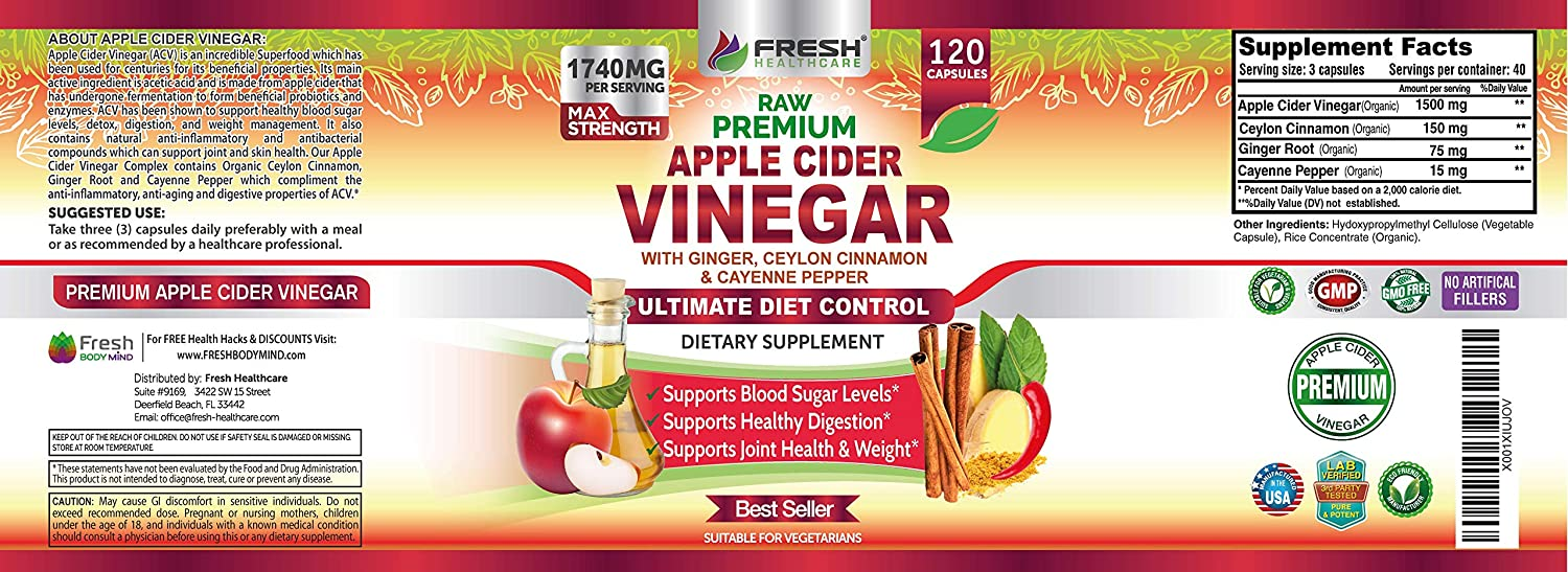 Organic Apple Cider Vinegar Pills by Fresh Healthcare, 1740mg with Mother, 100% Natural Ceylon Cinnamon, Ginger, and Cayenne Pepper for Healthy Detox and Digestion, 120 Vegan Capsules, Bonus E-Book