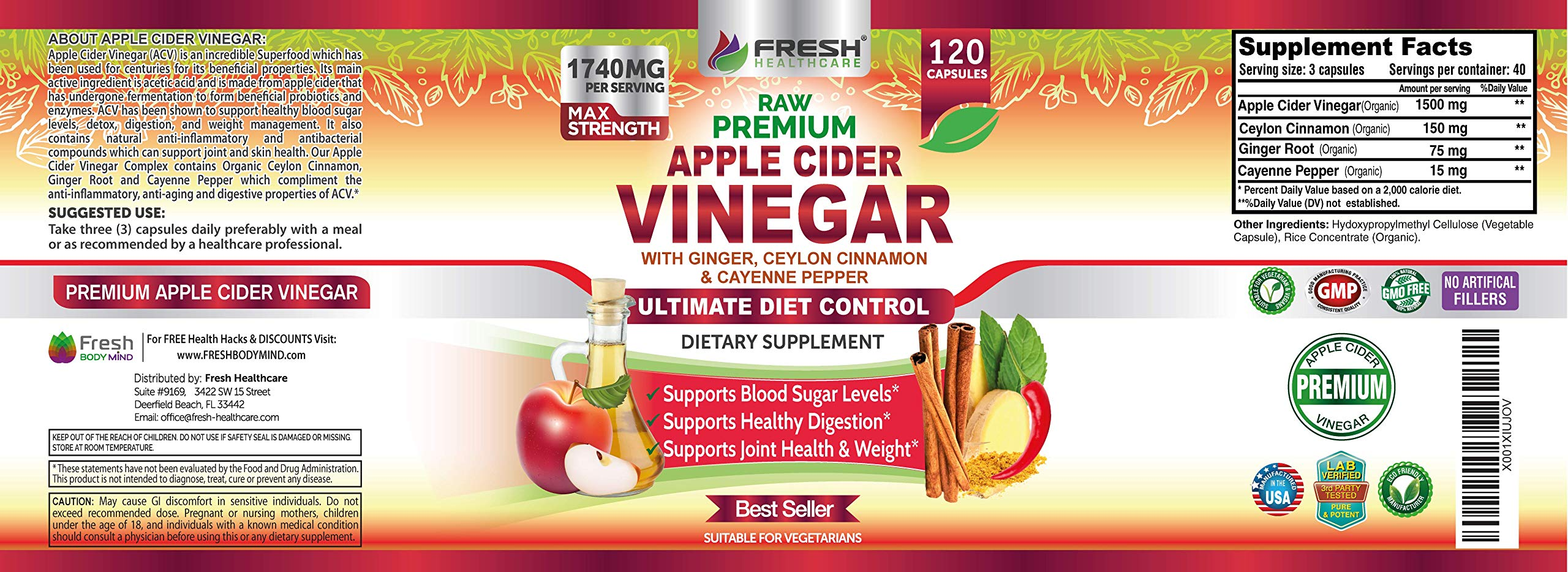 Organic Apple Cider Vinegar Pills Max 1740mg with Mother - 100% Natural & Raw with Ceylon Cinnamon, Ginger & Cayenne Pepper - Ideal for Healthy Blood Sugar, Detox & Digestion-120 Vegan Capsules by FRESH HEALTHCARE (Image #7)