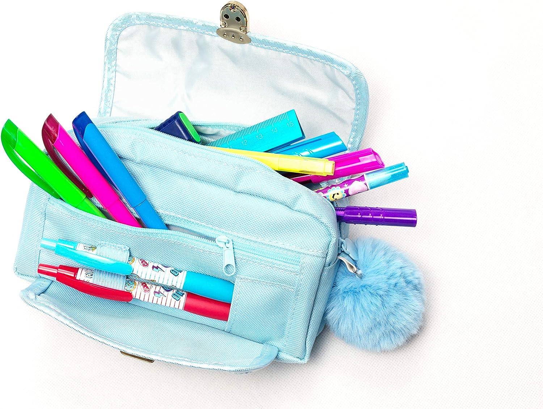 Luckybell - Estuche para lápices con diseño de conejo 3D, multifuncional, con pompón, ideal como regalo para el día de San Valentín, color azul: Amazon.es: Oficina y papelería