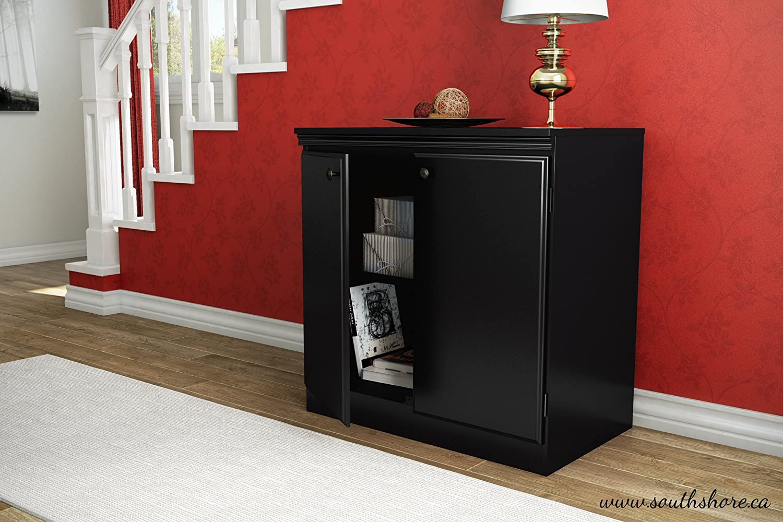 B00B7G4RWI South Shore Small 2-Door Storage Cabinet with Adjustable Shelf, Pure Black 61QDzSGDcQL