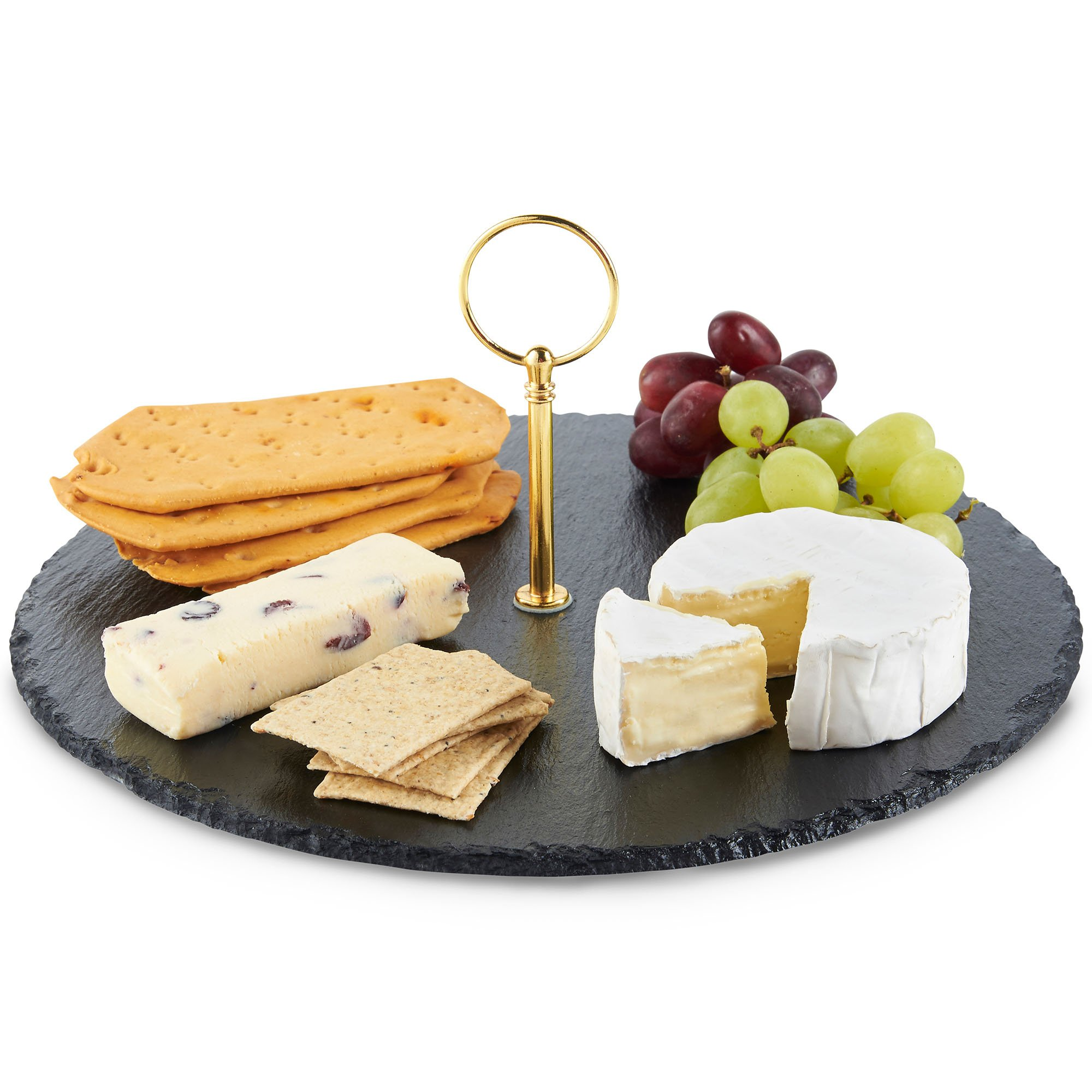 VonShef Round Natural Slate Cheese Board Serving Tray Set With Gold Brushed Carrying Handle, Perfect for Serving Cheese, Tapas, Cake or Dessert, Diameter 12 Inches