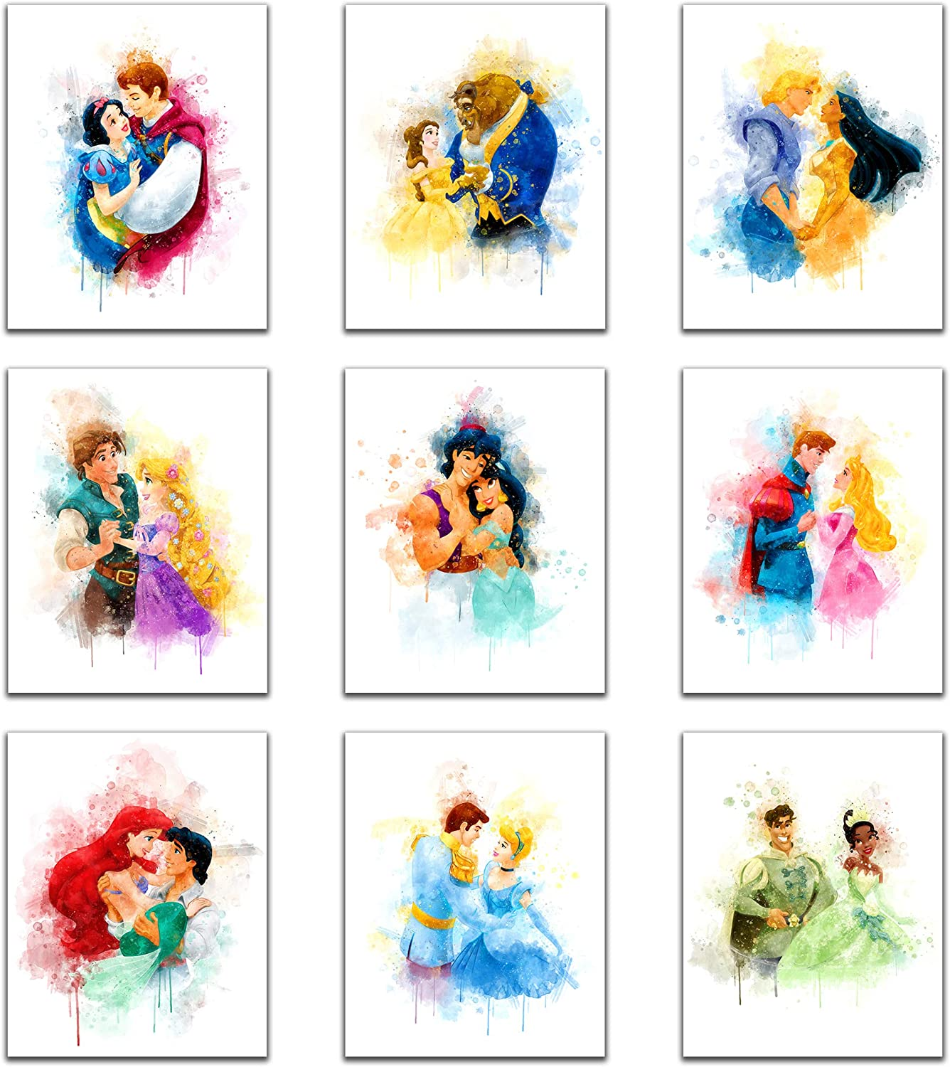 Princess Wall Art Decor Watercolor Prints - Unframed Set Of 9 (8 Inches X 10 Inches) - Princess Bedroom Decor, Princess Room Decor, Princess Wall Decor For Girls Bedroom, Poster for Baby Shower Decorations (8x10 inch)