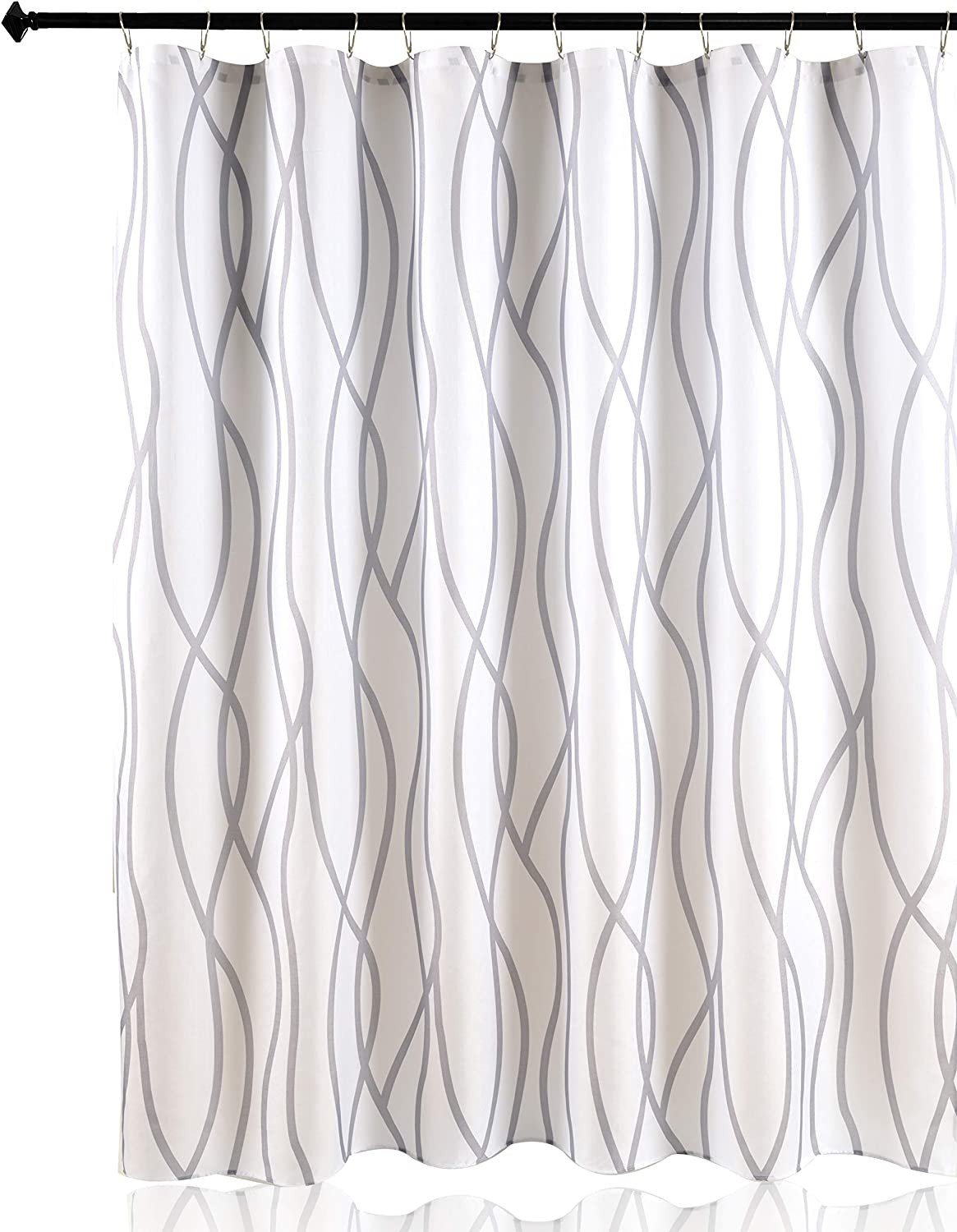 Biscaynebay Textured Fabric Shower Curtain Printed Dancing Bathroom Curtains, Silver Grey 72 Inches by 72 Inches