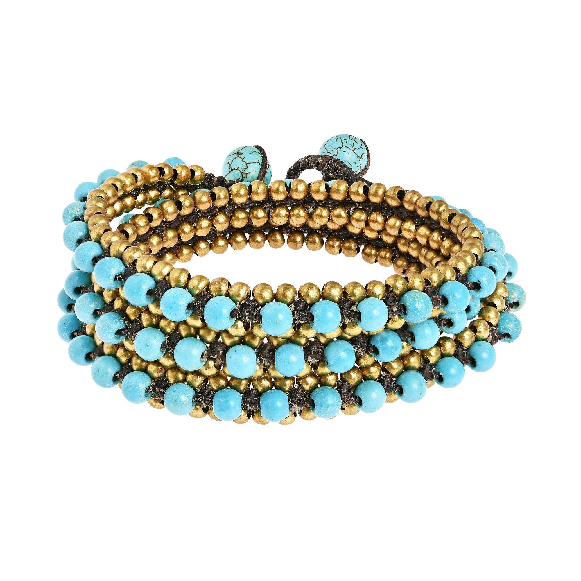 AeraVida Simulated Turquoise Fusion Cotton Wax Rope Triple Wrap Bracelet