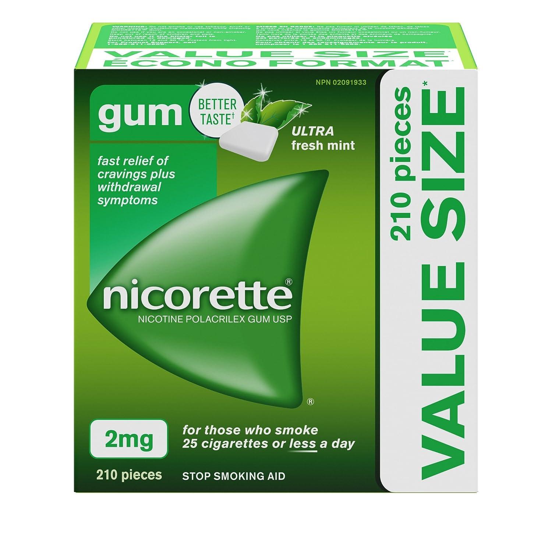 Nicorette Nicotine Gum, Quit Smoking and Smoking Cessation Aid, Ultra Fresh Mint, 2mg, 210 pieces Johnson and Johnson