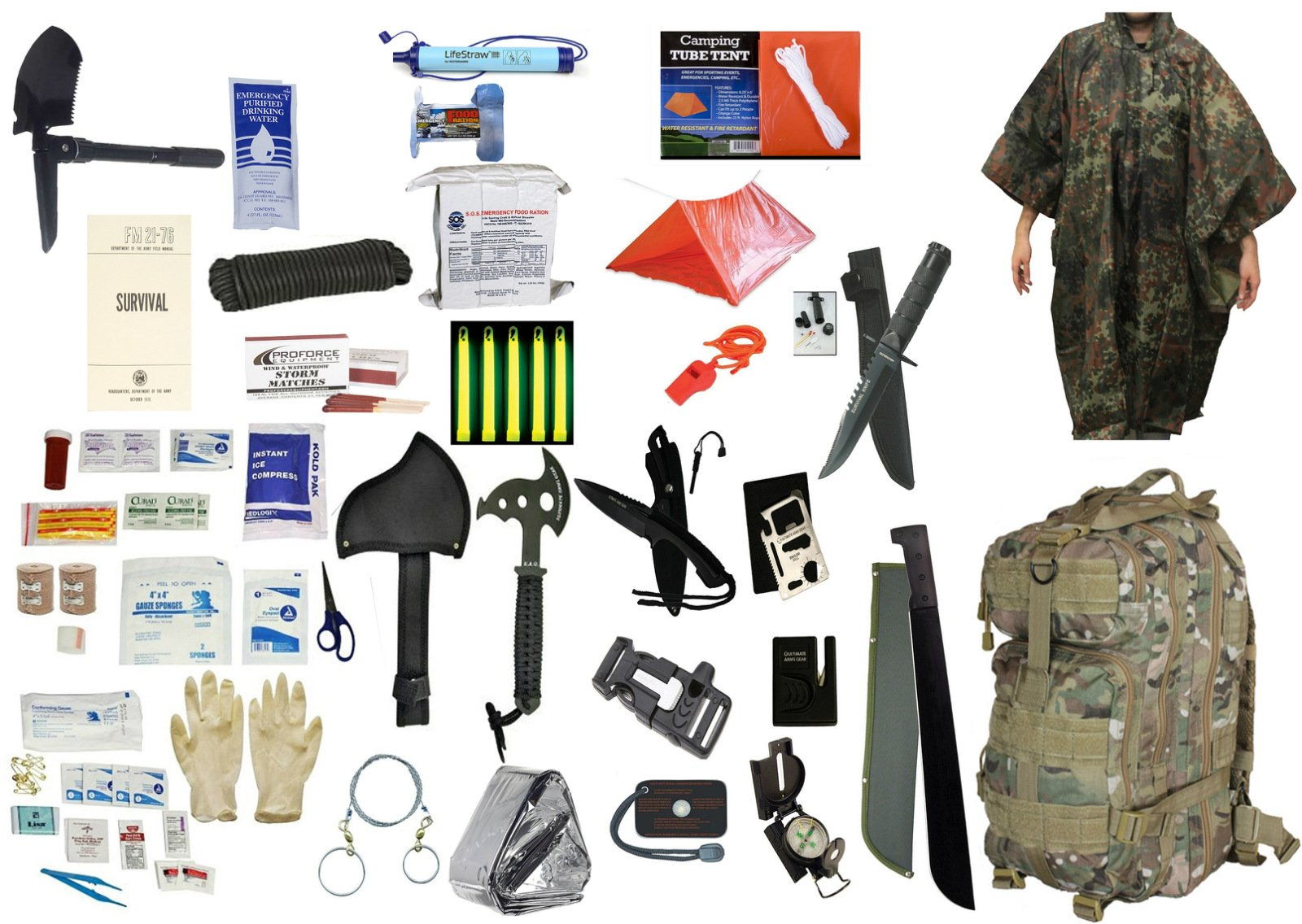 1 Person Supply 5 Day Emergency Bug Out S.O.S. Food Rations, Drinking Water, LifeStraw Personal Filter, First Aid Kit, Tent, Blanket, TACCAM Backpack, Flectarn Poncho + Essential 21 Piece Survival Set