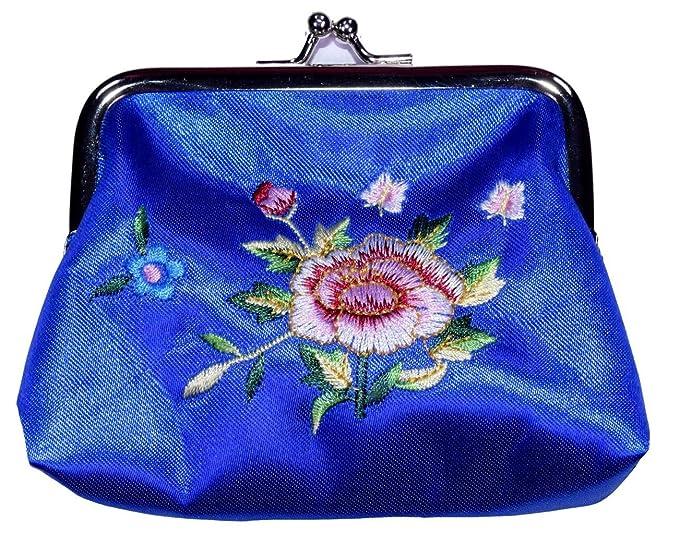 Monedero Mediano De Seda Bordada Flor Azul: Amazon.es: Ropa ...
