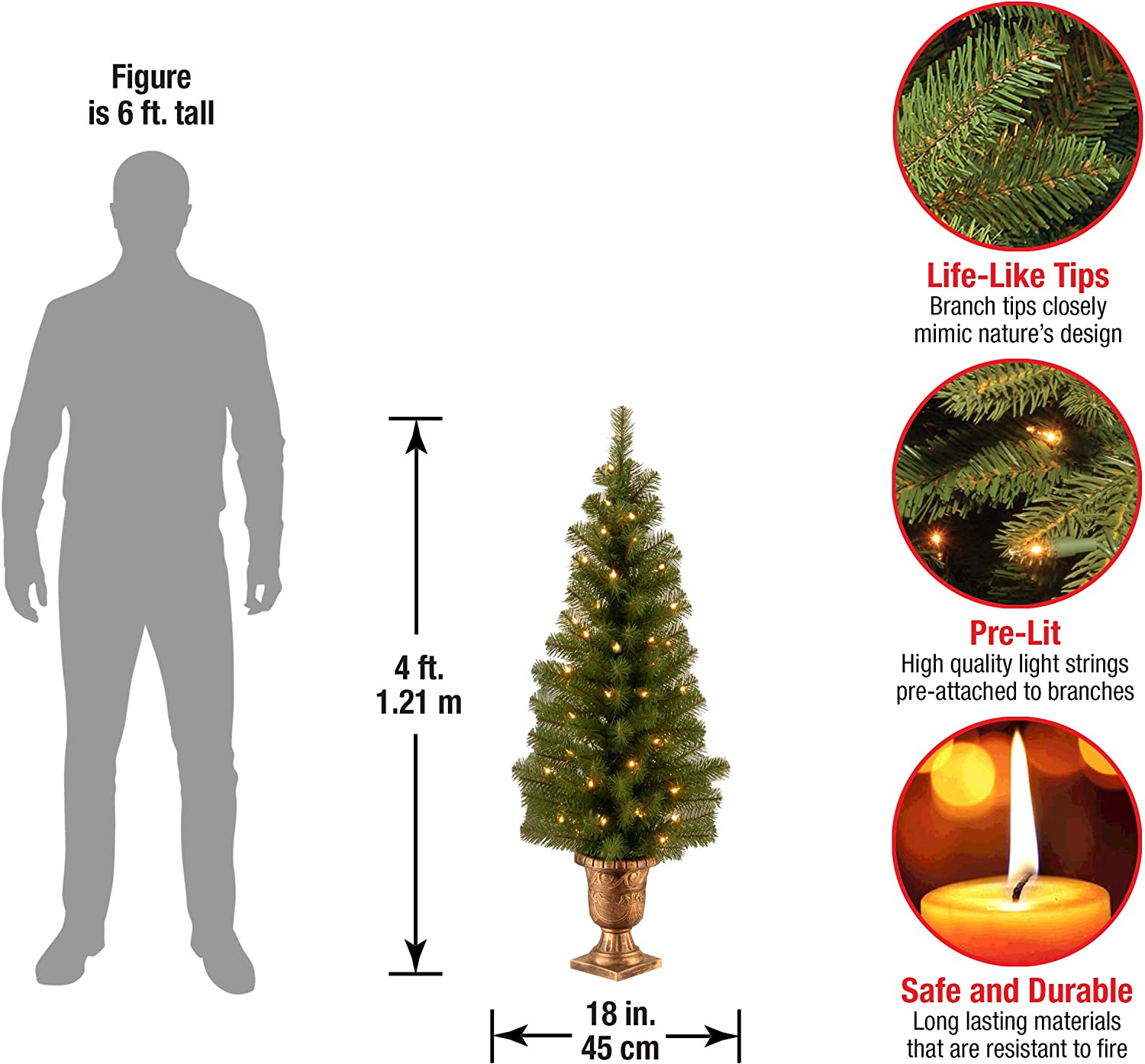 Amazon Com National Tree Company Pre Lit Artificial Tree For Entrances And Christmas Includes Pre Strung White Lights Montclair Spruce 4 Ft Home Kitchen