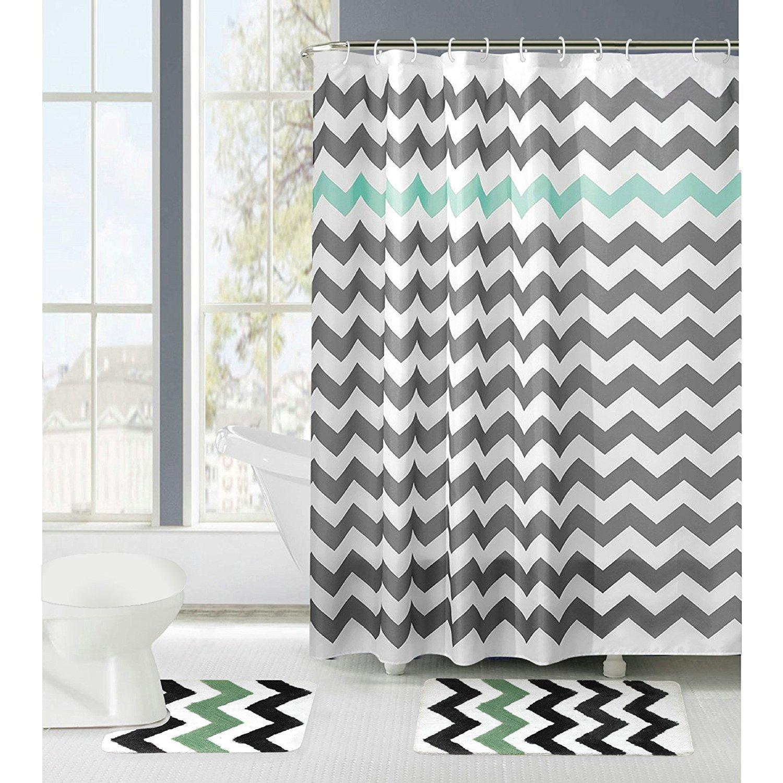 Gray and Aruba Amagical 15 Piece Zig Zag Shower Curtain Set Bath Mat Set Contour Mat with 12 Hooks Non-Slip Rug