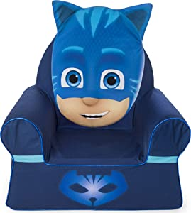 Marshmallow Furniture Foam Toddler Comfy Chair Kid's Furniture for Ages 18 Months and Up, PJ Masks Catboy, Blue