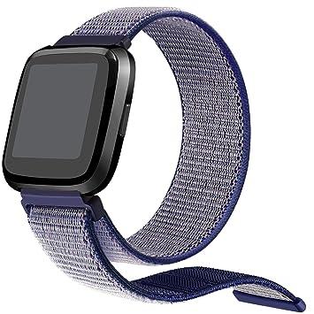bayite Bracelet de Rechange en Nylon tissé pour Montre connectée Fitbit Versa, Blue# 1