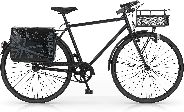 MBM Notting Hill - Bicicleta de Paseo para Hombre, Cuadro de Acero Talla 52, Frenos V-Brake, Ruedas de 28