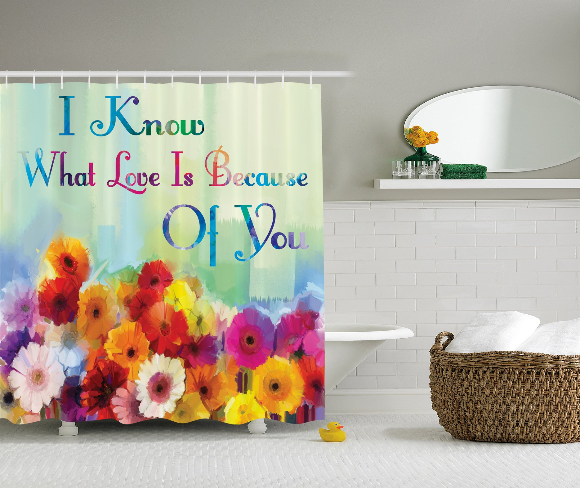 Ambesonne Floral Art Print Watercolor Painting I Know What Love Is Because of You Fabric Shower Curtain Green Blue Red Orange Purple Pink
