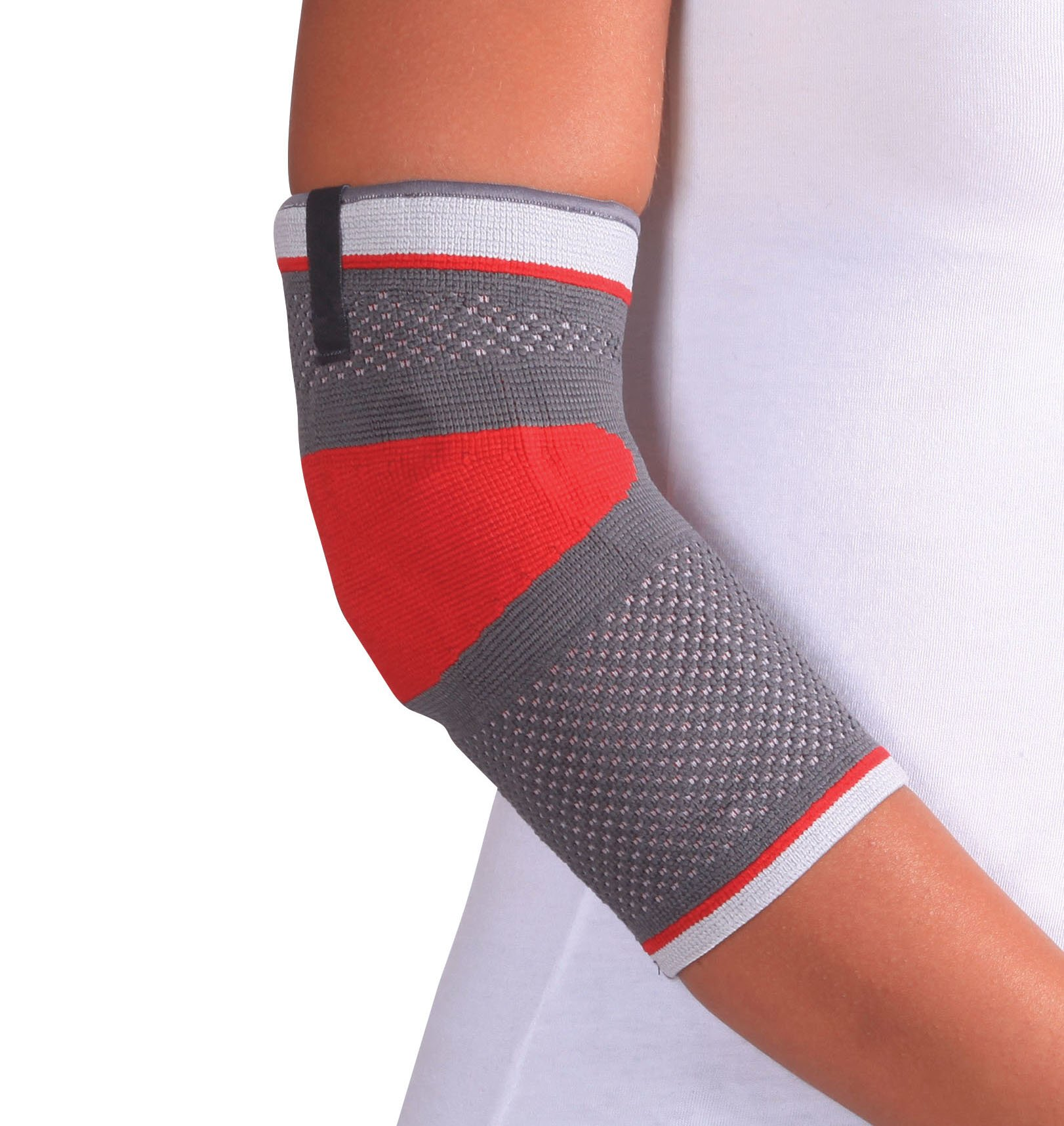 ORTONYX Tennis Elbow Support Brace Compression Sleeve - L Gray/Red