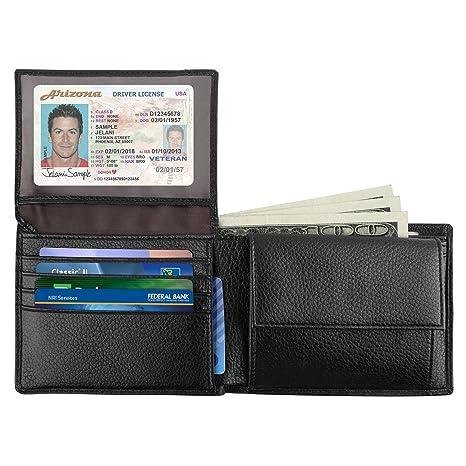 Luxspire RFID Carteras para Hombre Bifold Monederode Piel, Tarjetero Pequeña, Ligera y Fina,