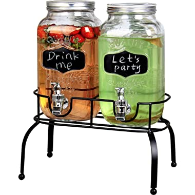 Estilo EST3095 Embo Glass Mason Jar Double Drink Dispenser with Leak Free Spigot On Metal Stand with Embossed Chalkboard and Chalk, Clear, 1 Gallon